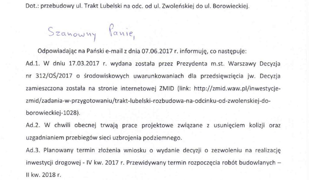 2017_06_23_ZMID_odpowiedz_Trakt_Lubelski_Zwolenska_Borowiecka